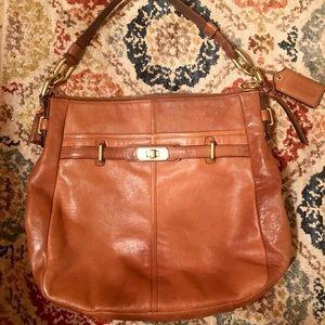 Coach brown leather shoulder strap purse